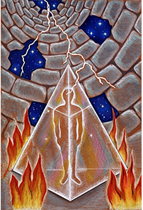 The Tower card from Fifth Element Tarot Deck.